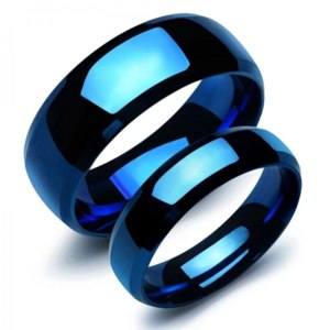 Кольцо Aliexpress FUNIQUE Fashion Stainless Steel Smooth Lovers' Ring Men Women Simple Lettering Blue Rings Jewelry 2018 New Valentine's Day Gift фото