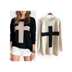 Свитер AliExpress New 2013 Fashion Womens Cross Pattern Knit Sweater Outerwear Crew Pullover Tops Free Shipping C001 фото