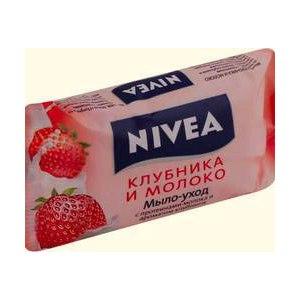 """Мыло  NIVEA """"мыло-уход клубника и молоко"""" фото"""