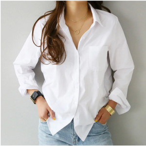 Рубашка женская AliExpress 2020 Spring One Pocket Women White Shirt Female Blouse Tops Long Sleeve Casual Turn-down Collar OL Style Women Loose Blouses фото