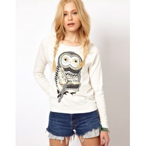 Толстовка AliExpress New Autumn Casual Cute White Owl Animal Print Beading Hoodies Pullover for Women Free Shipping Wholesale фото