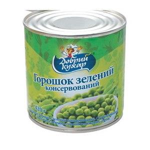 """Горошек зеленый консервированный """"Добрый кухар""""  фото"""