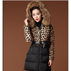Пуховик AliExpress Hot Sale 2014 Fashion New Brand Women Winter Clothing Faux Fur Hooded Leopard Print Patchwork Design Long Style Lady Down Coat фото