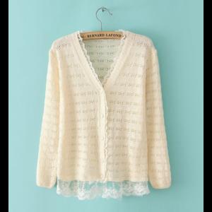 Кардиган AliExpress Korean Solid Lace Knitted Cardigan фото