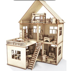 Happykon Кукольный домик ХэппиДом с пристройкой с мебелью для кукол фото