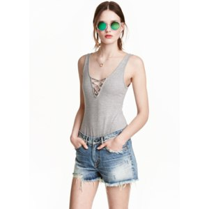 Боди H&M Топ меланжевый светло-серый трикотаж фото