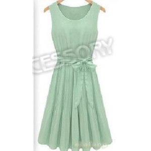 Платье летнее AliExpress Fashion Women's Dresses Light Green Pleated Sleeveless Dress Chiffon Dress Skirt Knee-Length 650633  фото