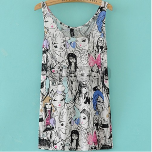 Майка Aliexpress New Fashion Colourful Art Painted Print Sleeveless Blouses Vest tops фото