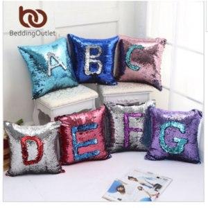 Аliexpress наволочка на подушку BeddingOutlet Mermaid Sequin Cushion Cover Golden Smile Decorative Pillowcases Wholesale Solid Pillow 40cmX40cm Fashion фото