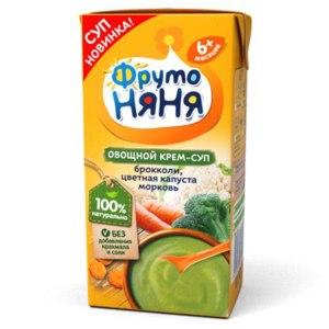 Овощной крем-суп ФрутоНяня брокколи, цветная капуста, морковь фото