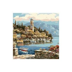 Картина по номерам ТМ Цветной Деревенская башня с часами фото