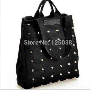 Сумка Женская Aliexpress 2015 New Fashion Women Rivet canvas handbags shoulder bags big shopping bags фото