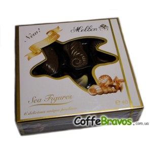 Шоколадные конфеты Melbon Морские фигуры: конфеты из молочного и белого шоколада с начинкой из орехового пралине фото