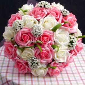 Свадебный букет Aliexpress Free shipping 2014 New arrival Romantic Wedding Colorful Bride s Bouquet red pink blue and purple фото
