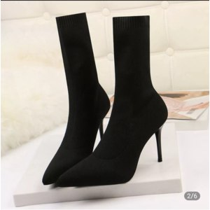 Ботильоны Aliexpress с эластичным носком SEGGNICE Sexy Sock Boots Knitting Stretch Boots High Heels For Women Fashion Shoes 2021 Spring Autumn Ankle Boots Booties Female фото