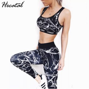 Спортивный комплект AliExpress Breathable Printed Yoga Sets Women Sexy Sportswear Neck Strap Bra & Leggings Bodycon Fitness Suit Yoga Set Women Tracksuit фото