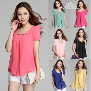 Блузка AliExpress Summer Clothes For Women 2014 New Fashion Casual Sequin O Neck Short Sleeve Chiffon Blouses With Ruffles фото