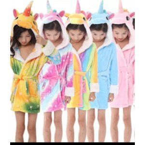 Халат AliExpress Girl's Coral Fleece Unicorn <b>Hooded Bathrobes</b> ...