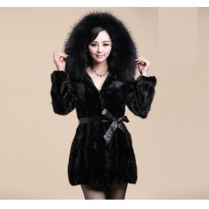 Шуба AliExpress F1001 New 2014 Plus Size XXXXL Women Medium-long Eco-Friendly Mink Fur Coat Winter Luxury Fox Fur Outerwear Coats With A Hood фото