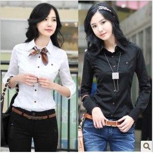 Блузка AliExpress women Korean fashion long-sleeved Shirt OL cotton blouses black and white S&M&L&XL&XXL фото