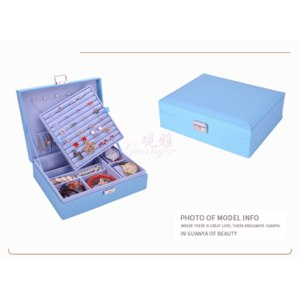 Шкатулка для ювелирных изделий Aliexpress Guanya Women Leather Rectangle Packaging Rings Earrings Storage Organizer Display Boxes Case Exquisite Travel Jewelry Box Gift фото