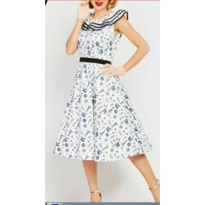 Платье AliExpress Sisjuly Women Dress Vintage A Line 1950s Ruffles Summer Female Sleeveless Print Elegant Fashion Retro Short Party Dress Girl фото