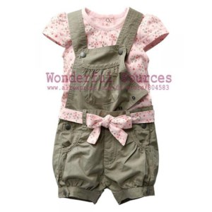 Костюм AliExpress Baby clothes set Girl Summer T-shirt+overalls+belt baby shivering clothing Children suits/baby clothing,Free shipping 5set/lot фото