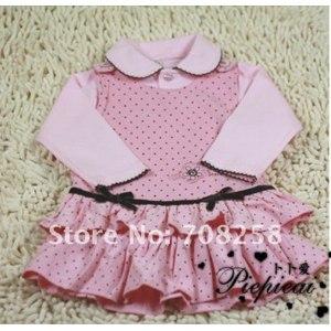 Комплект AliExpress Free shipping,3sets/lot Baby Clothes Set girl Summer cotton Top+dress+hat/cap 3-piece set,Bowknot Pink Princess suit,infant wear фото