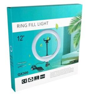 Лампа светодиодная кольцевая Ring Fill Light  QX-300 со штативом для селфи и профессиональной съемки фото