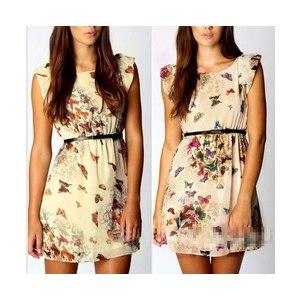 Платье AliExpress Hot Selling Womens Dress Floral Butterfly Print Party Summer Dress Casual Chiffon Mini Dress S M L XL фото