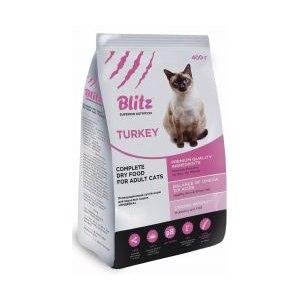 Сухой корм для взрослых кошек Blitz Индейка фото