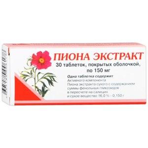 Седативное средство Вифитех Пиона экстракт 150 мг. в таблетках фото