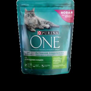 Сухой корм для домашних кошек Purina One с высоким содержанием индейки и цельными злаками фото