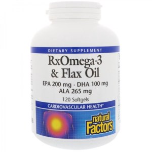 БАД Natural Factors RxOmega-3 и льняное масло фото