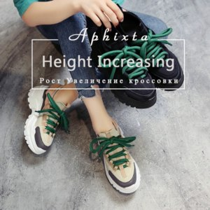 Кроссовки Aliexpress Aphixta Platform Shoes Woman Height Increasing Ankle Boots Mixed Colors Lycra Lace-up Girls Student Shoes Lycra Fashion Boots фото