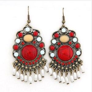 Бижутерия Ebay Серьги Fashion Charm Jewelry Pair Bronze Vintage Red Gem Tassels Dangle Earring фото