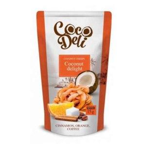 Снэки Coco Deli Кокосовые чипсы с корицей, апельсином и кофе фото