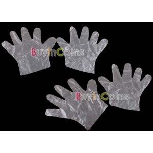 Перчатки хозяйственные Buyincoins  100 x Disposable Plastic Gloves Restaurant Home Service фото
