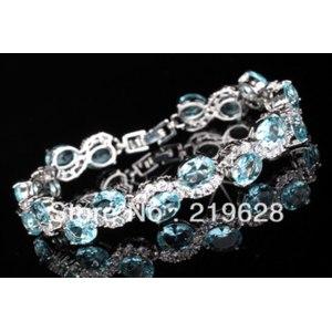 Браслет Aliexpress Браслет Charming and Beautiful and High Quality Blue Topaz Tennis CZ Bracelet фото