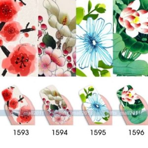 Наклейки для ногтей Ebay Nail Art Colorful Full Wrap Flower Water Transfer Stickers Decal DIY Decorations фото