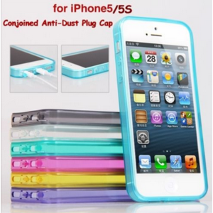 Бампер для смартфона Aliexpress New Soft Rubber Silicone TPU Crystal Case Cover for iPhone 5S 5 Anti-Dust Plug Cap фото