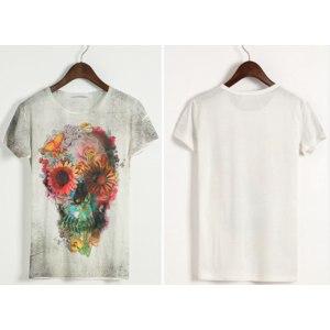 Майка AliExpress New women/men flower skull round neck 3d T-shirt loose short sleeve o-neck galaxy t shirt top  фото