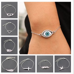 Браслет Aliexpress Hot Sale blue eye accessories vintage creative handcuffs metal wrist bracelet with hearts for women and men unisex bracelets good gift фото