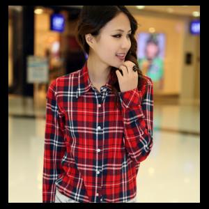 061a636c57f Рубашка женская AliExpress New Autumn Fashion Plus Size Ladies Long Sleeve  Casual Cotton Slim Plaid Shirt