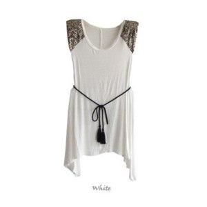 Платье-туника AliExpress 2013 Fashion Women's Asymmetrical Dress Sequins Shoulder Sleeveless O-Neck Irregular Hem Dress With Waistband S13265 фото