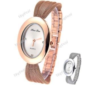 Женские часы Tinydeal Stylish Quartz Bracelet Style Wrist Watch Analog with Ellipse Case & Mesh Band for Woman Lady WWM-218728 фото