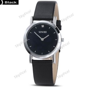 Наручные кварцевые женские часы Tinydeal SINOBI Fashion New Stylish Women Dress Style Leather Strap Quartz Watch WWT-314733  фото