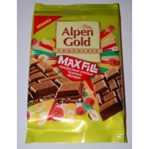 "Шоколад Alpen Gold Max Fill ""Кукурузные хлопья, малина, фундук"" фото"