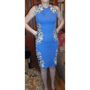 Платье AliExpress Newest 2013 Classical Noble O-neck Sleeveless Knee-length Stretch Slim Pencil Party Women Print Dresses фото