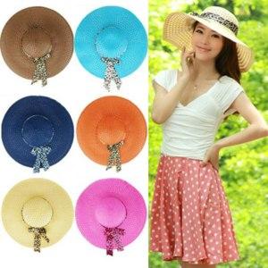 Шляпа Aliexpress Fashion Women Sun Hat Straw Hat Wide Large Brim Summer Beach Cap with Leopard Ribbon фото
